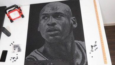 Photo of Художниця створила портрет Майкла Джордана із 5,3 тис. гральних кісточок