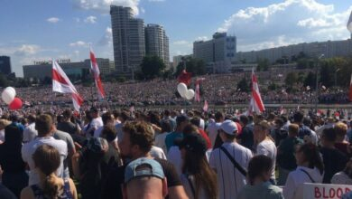 Photo of «Верам, можам, переможам». Десятки тисяч людей вийшли у Мінську на акцію проти Лукашенка