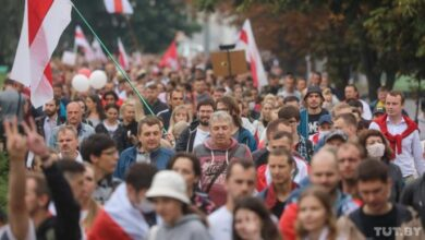 Photo of У Мінську знову акція протесту, десятки тисяч людей вийшли на вулиці
